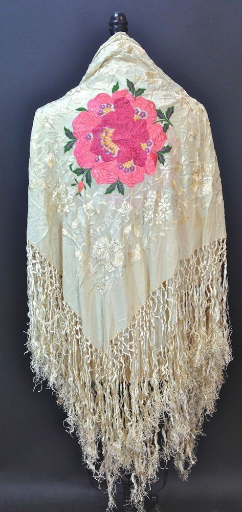 Vintage 1920s Silk Piano Shawl scarf with large