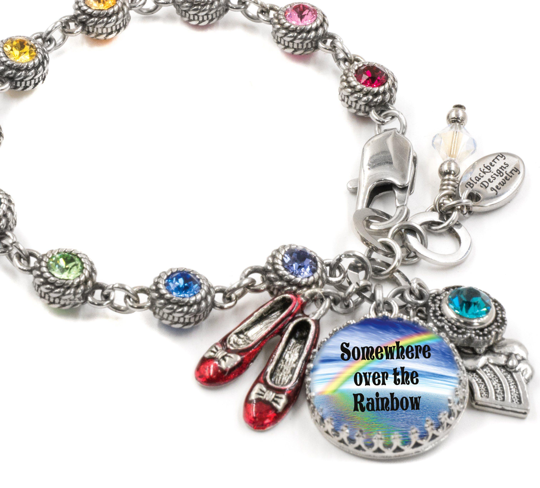 Rainbow Crystal Charm Bracelet in stainless steel