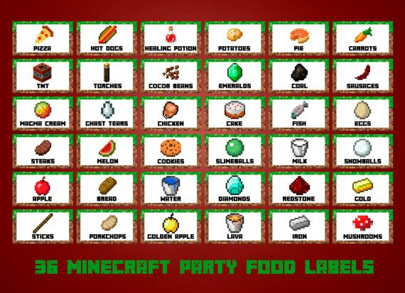 graphic regarding Minecraft Free Printable Food Labels identify 36 Minecraft Foods Labels Printable Minecraft via