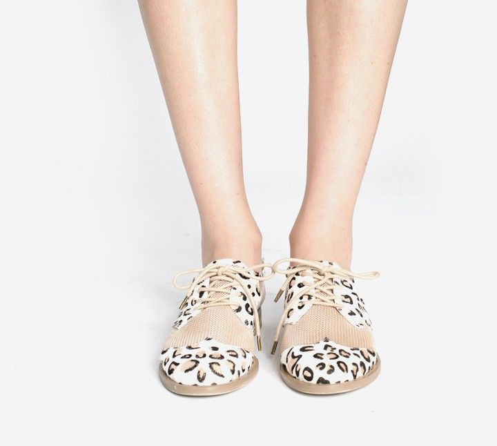 $192.00  By F-Troupe: Leopard and Mesh lace-up oxford sneaker