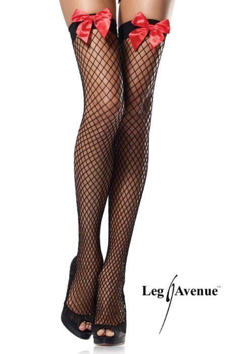 bas noir resille nylon noeud rouge femme tu lingerie bas et collants travestishop. Black Bedroom Furniture Sets. Home Design Ideas