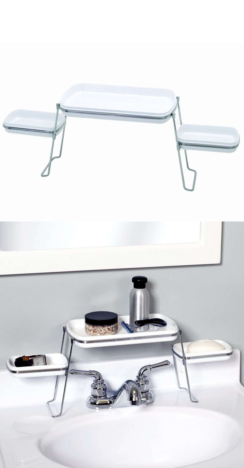 Kitchen Sink Shelf Organizer Small Spaces Over The Faucet Shelf Clever Organizer