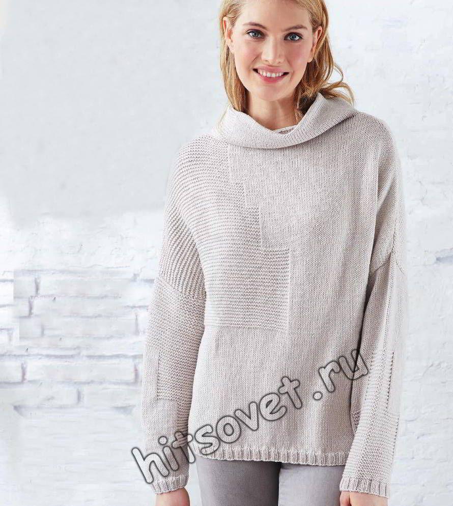 bbb502231c7 Вязание спицами для женщин модного свитера оверсайз с фантазийным узором со  схемой и пошаговым описанием.