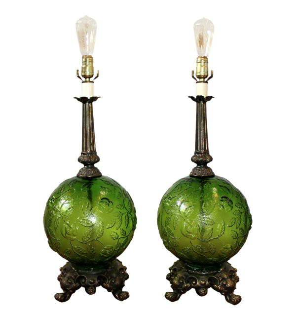 Mid Century Modern Green Globe Lamps Set Of 2 In 2019
