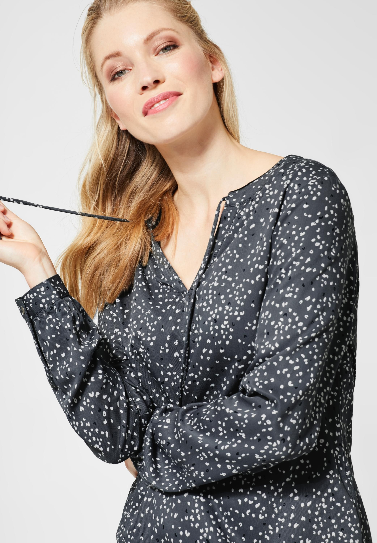 Cecil Bluse Mit Muster In Dark Graphite Grey Bluse Blusen Damen Viskose Bluse