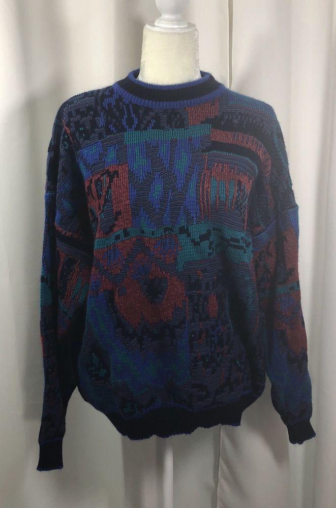 Vaporwave Christmas Sweater.Rare 80s 90s Vtg Mcgregor Sweater Euc Fire Xl Vaporwave