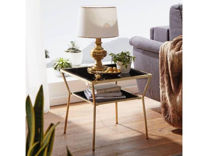 Wohnling Design Couchtisch Glas Schwarz 50 X 50 Cm 2 Ebenen Gold Metal Home Decor Home Furniture