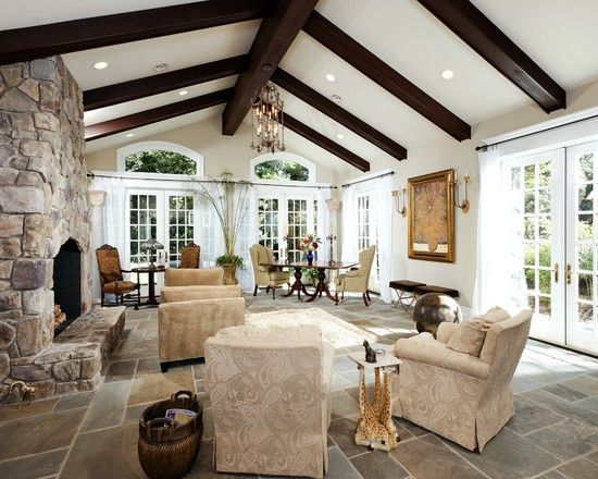 Traditional Living Room Exposed Beams Design Pictures Remodel