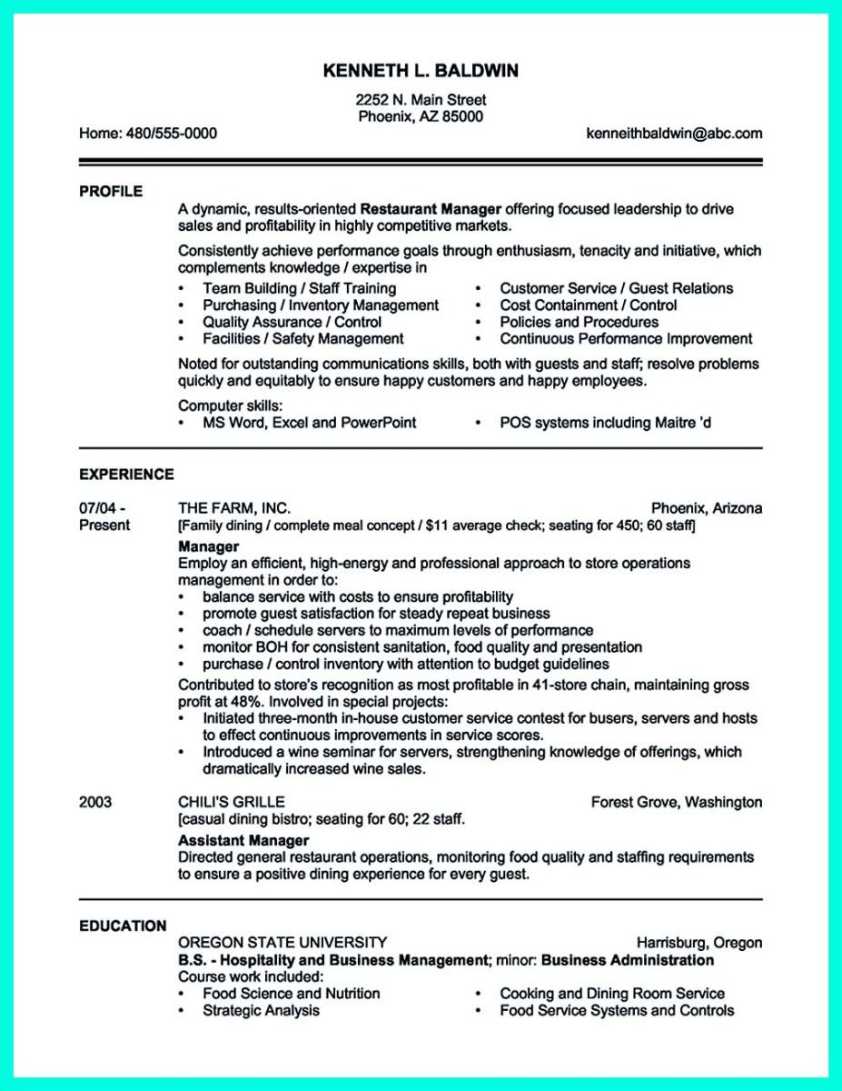 Nice Attractive But Simple Catering Manager Resume Tricks Check