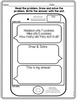 Daily Math Word Problem Text Messages- Grade 1   Math word ...
