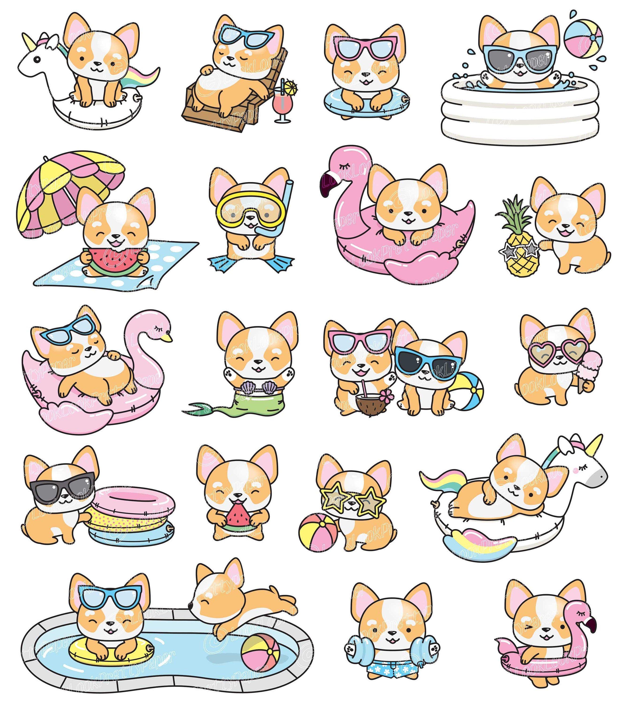 Premium Vector Clipart Kawaii Corgi Cute Corgi Pool Party Etsy Kawaii Clipart Cute Doodles Cute Drawings