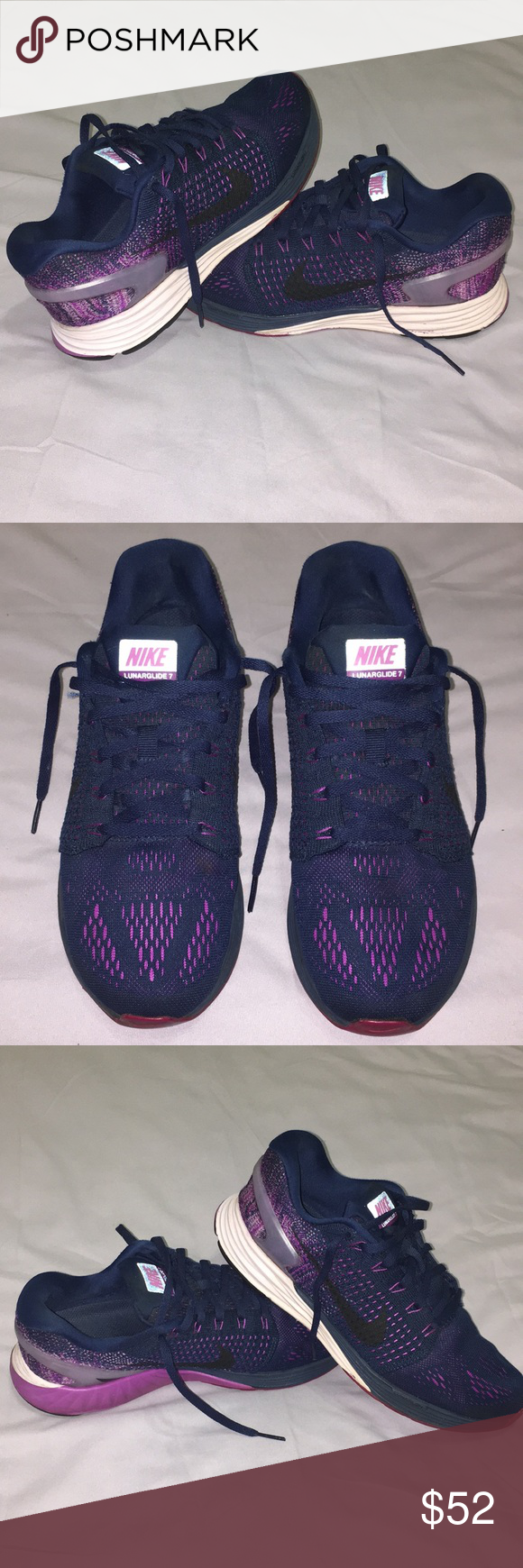 size 40 4ae5c 5a7f9 Nike Lunar glide 7 Navy, pink, violet lunarglide 7. purple and light pink  soles. Used with no rips and no sign of use on the cloth of the shoe, ...