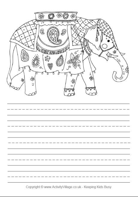free printable christmas paper Indian elephant story paper - lined paper for writing