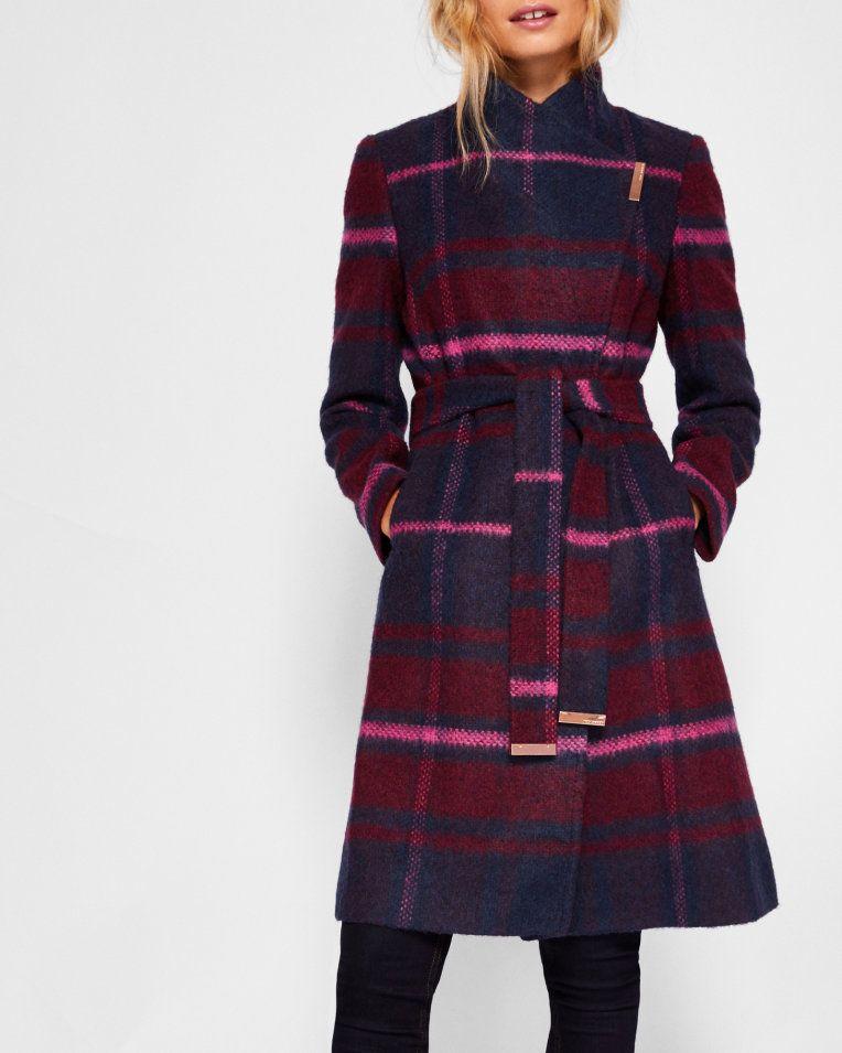 9961a44f1 Check long wrap coat - Maroon