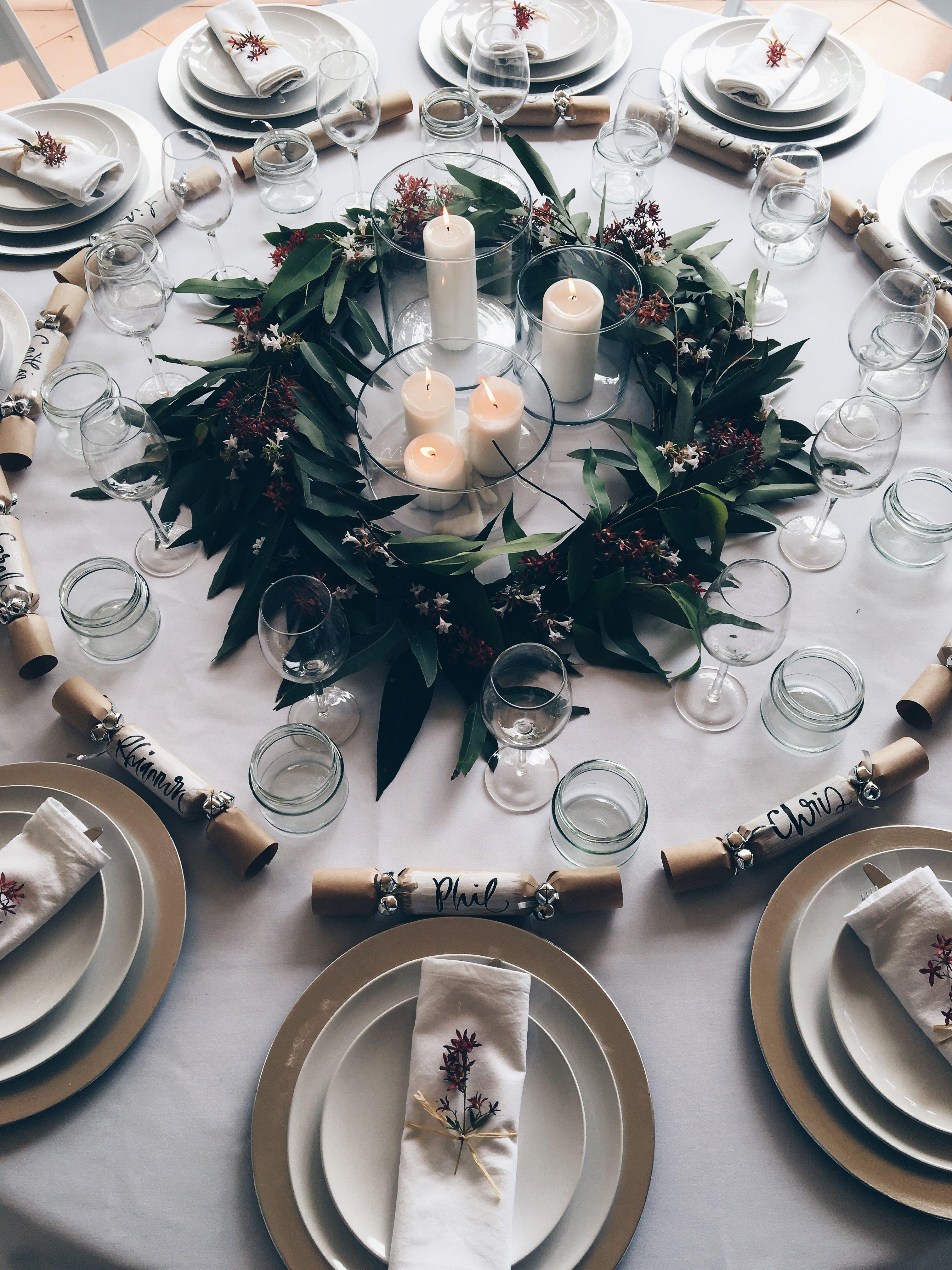 Australian Christmas Table Arrangement Native Wreath Garland Made Using Eucalyptus Leaves Australian Christmas Christmas Settings Corporate Christmas Parties