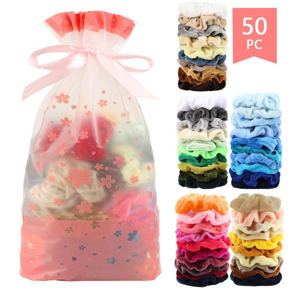 50 pcs vintage hair scrunchies velvet scrunchie pack women