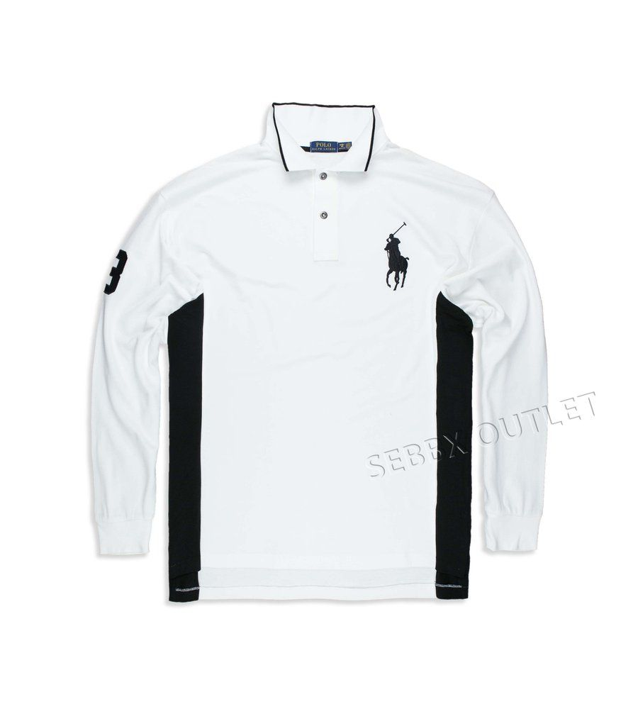Polo ralph lauren rugby polo shirt big tall white long for Big and tall men s long sleeve polo shirts