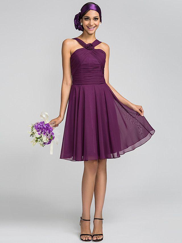 Knee-length Chiffon Bridesmaid Dress - Grape Plus Sizes / Petite A ...