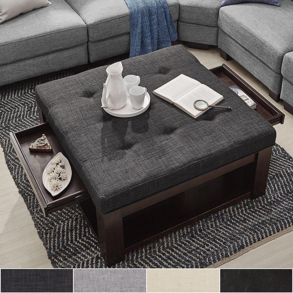 Lennon Espresso Square Storage Ottoman Coffee Table By INSPIRE Q Classic By  INSPIRE Q