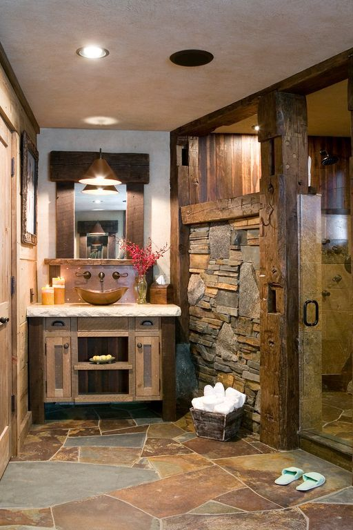 Rustic Master Bathroom With Slate Floors Specialty Door Flat Panel Cabinets 3 Inch
