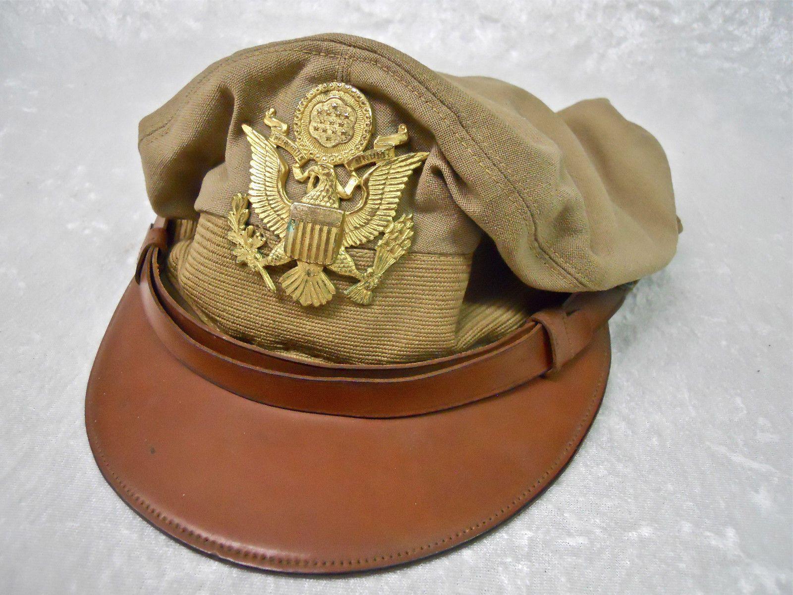 411732d7a30d9 WW2 US Army Air Forces True Crusher Officer Visor Cap Summer Khaki Dunlap  Maker (335)