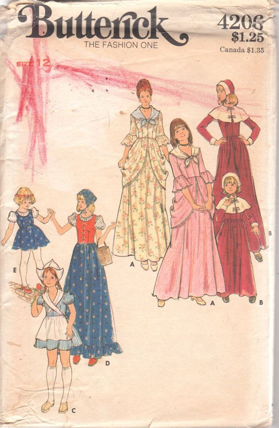 1970s butterick 4206 childs pilgrim dutch girl peasant colonial puritan girls vintage costume sewing pattern by