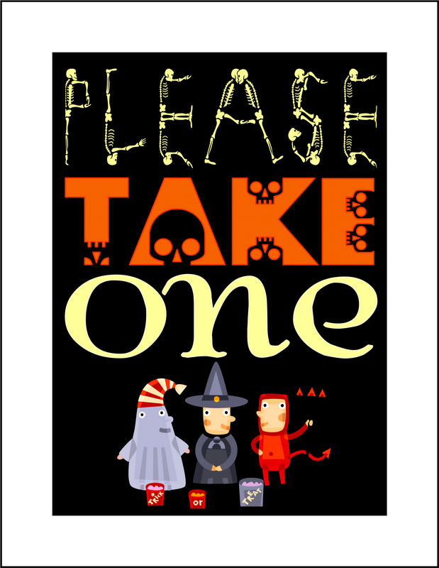 {free printable} Please Take One Halloween Candy Sign