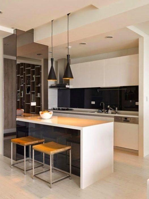 cocinas-modernas-pequenas-con-isla-y-lamparas-gallery | Decoración ...