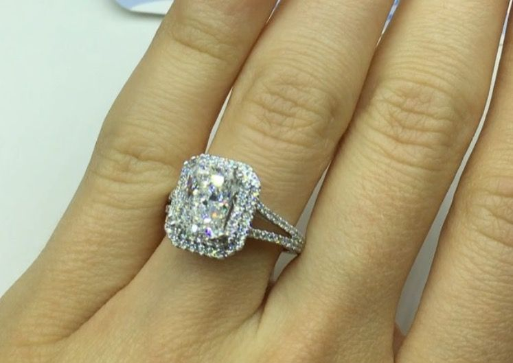 Radiant Cut Moissanite Split Band Halo Engagement Ring