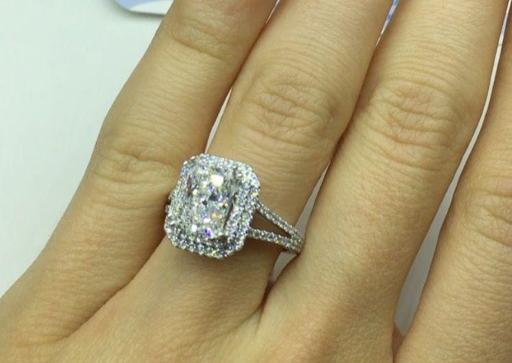Radiant Cut Moissanite Split Band Halo Engagement Ring