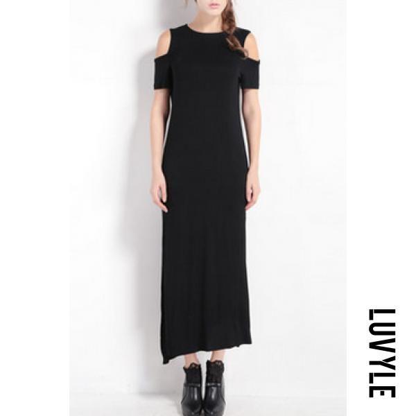 9d564700e Luvyle - Luvyle Round Neck Side Slit Plain Maxi Dress - AdoreWe.com ...