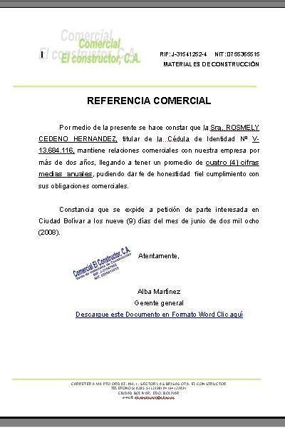 MODELO REFERENCIA-COMERCIAL : FORMATOS Y MODELOS LEGALES