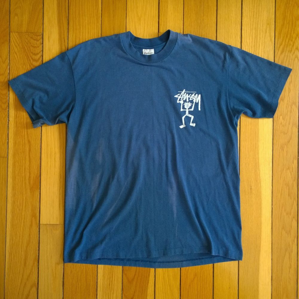 cc68544c27 Vintage 80s STUSSY Skateboard Original Stickman Logo Stedman USA T Shirt XL  Blue  fashion  clothing  shoes  accessories  mensclothing  shirts (ebay  link)