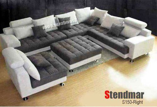 Amazon Sofa Set Global Furniture Reclining Com 5pc New Modern Gray Microfiber Big Sectional S150rg Black Microsuede