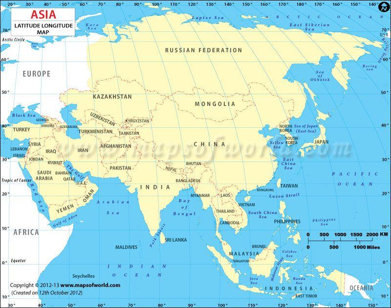 Latitude and longitude map of asia latitude longitude maps latitude and longitude map of asia gumiabroncs Images