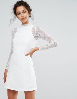 Clearance Outlet Store Lace A Line Mini Dress with Long Sleeves - White Chi Chi London Buy Sale Online Cheap Sale In China o6Pvi