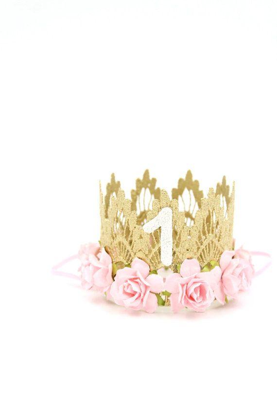 Primer cumpleaños corona MINI Sienna flores de color rosa  2cf5e1e54d0