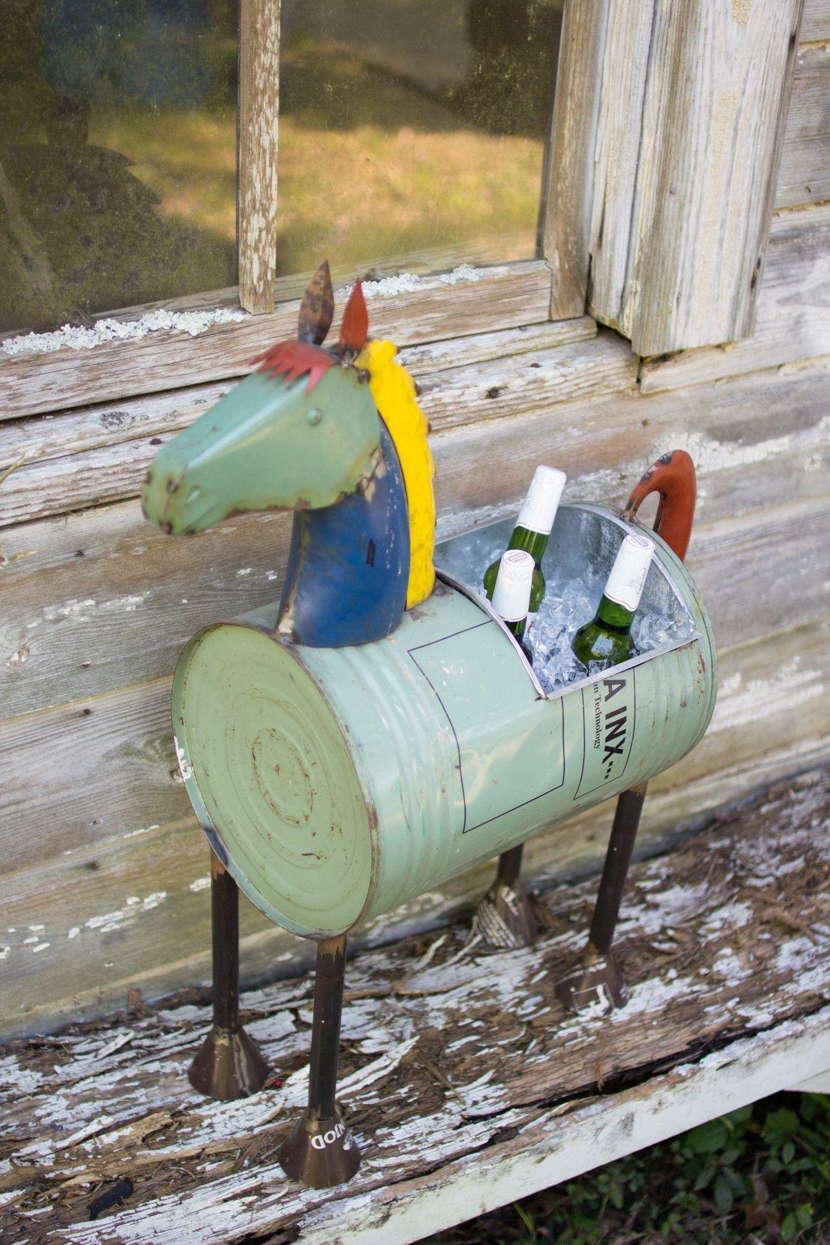Kalalou Recycled Iron Horse Cooler/Planter