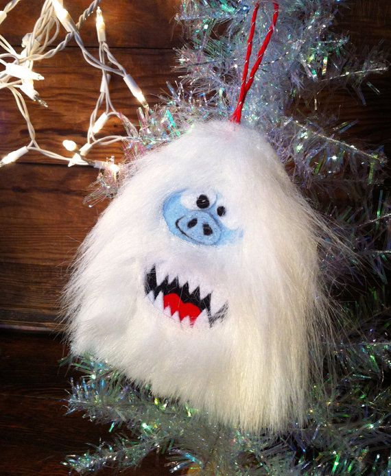 Abominable Snowman Furry Felt Ornament Hand Sewn by wonderboom