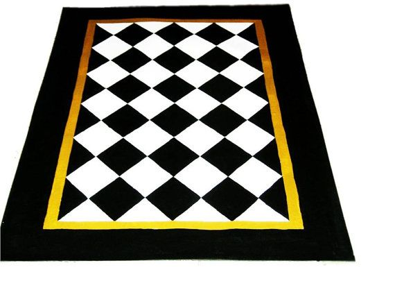 FLOORCLOTH Black and White Diamond Pattern, hand painted rug COUNTRY PRIMITIVE Folkart is part of Country Home Accessories Floors - This FLOORCLOTH is a great size, 4'x6', and will inhance any decor with it's beautiful BLACK & WHITE DIAMONDS!  It has a MUSTARD middle border that can be changed to suit your own color scheme   Just let me know when you make your purchase  All of my floorcloths are done on the finiest heavy weight canvas, painted and primed with latex and acrylic paints and topped off with several layers of polyacrylic for a lasting and very durable finish  These floorcloths are  HYPOALLERGENIC, STAIN RESISTANT, VERSATILE, DURABLE AND SO EASY TO CARE FOR!  To clean a floorcloth, just SWEEP & MOP!  That's it! I also do CUSTOM FLOORCLOTHS, so if you don't see exactly what you want from my other rugs, just feel free to contact me and I can work out a design just for you  Thanks so much for viewing my site