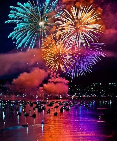 Image via We Heart It https://weheartit.com/entry/178305612 #clouds #colors #cool #fireworks #lights #night #sea #sky