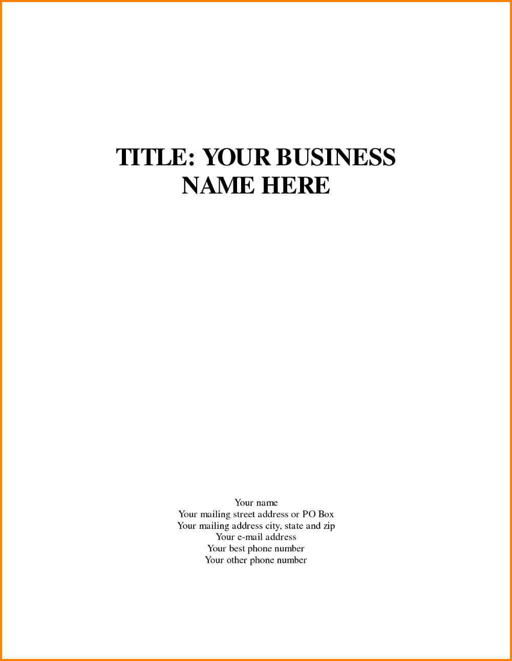 Business Plan Cover Page Template Marvelous Templates Word
