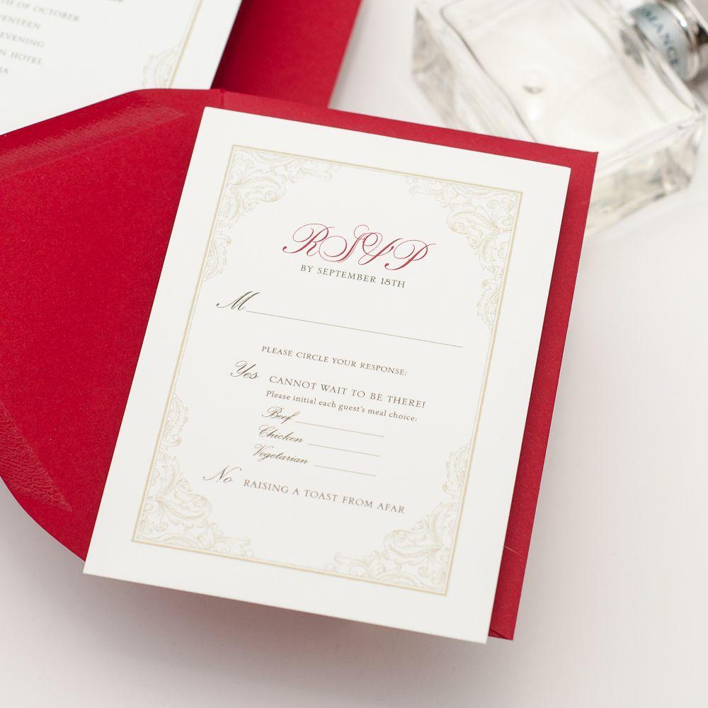 Virginia Wedding Invitation Elegant Ornate Border Red And White