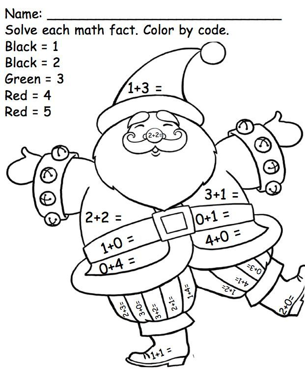 Colour By Number Santa Christmas Math Christmas Math Worksheets Christmas Kindergarten