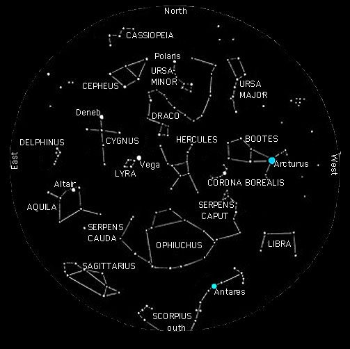 Map Of Constellations Northern Hemisphere Summer Summer Constellations in the Northern Hemisphere | Outer Space