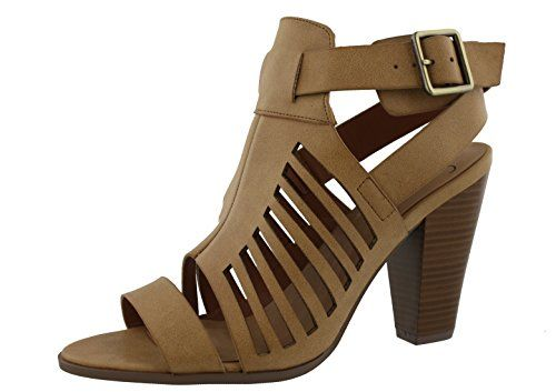 My Delicious Shoes Womens Yummy Cutout Stacked Heel Sandal