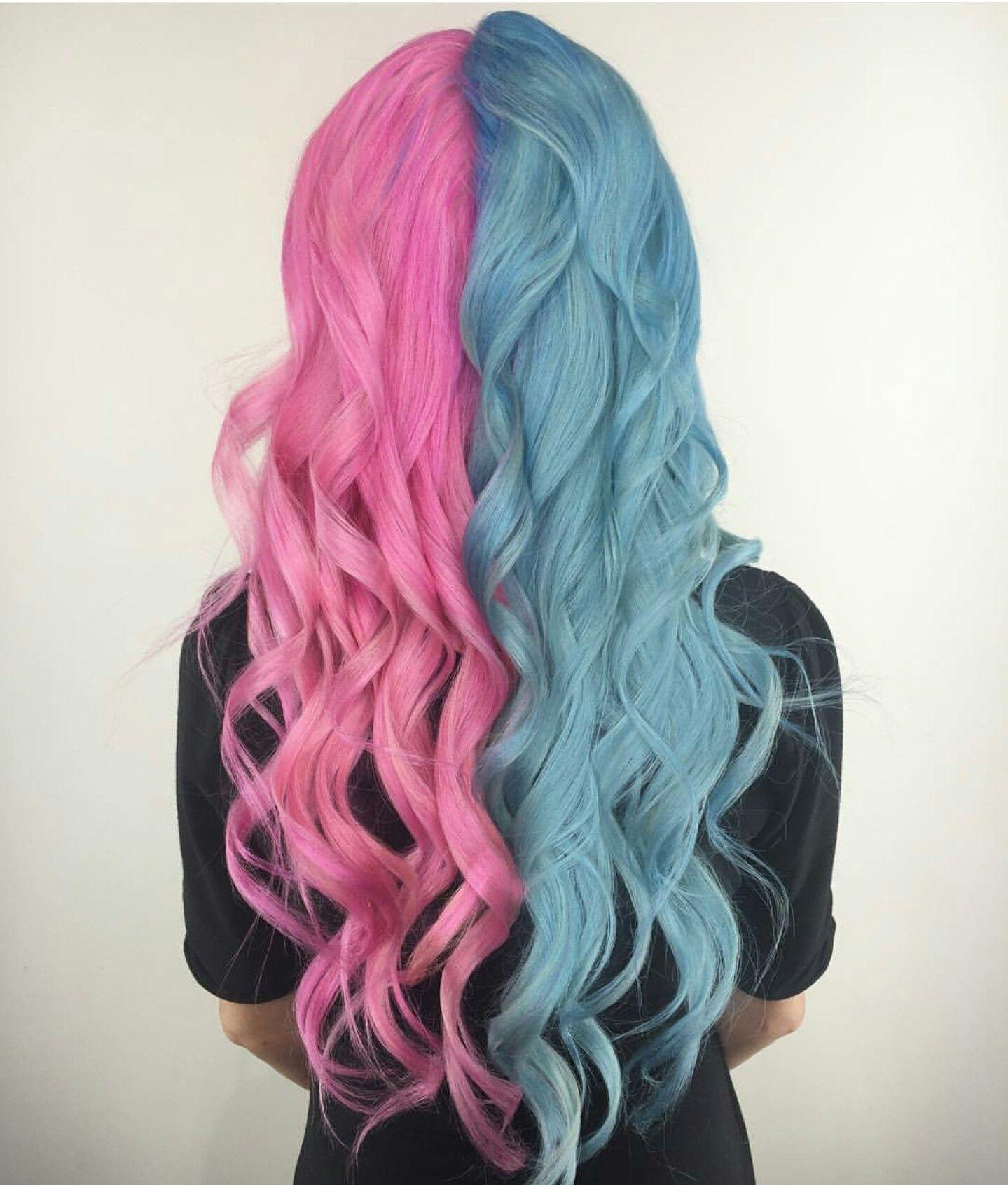 Pin By Amanda Soriano On Evalin S Curly Hair Split Dyed Hair Hair Styles Split Hair