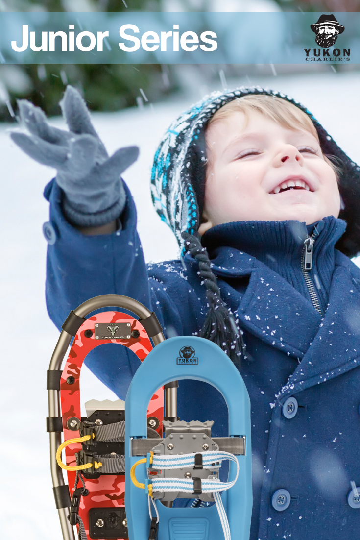 Our Jr  Series snowshoes for kids are easy to put on and