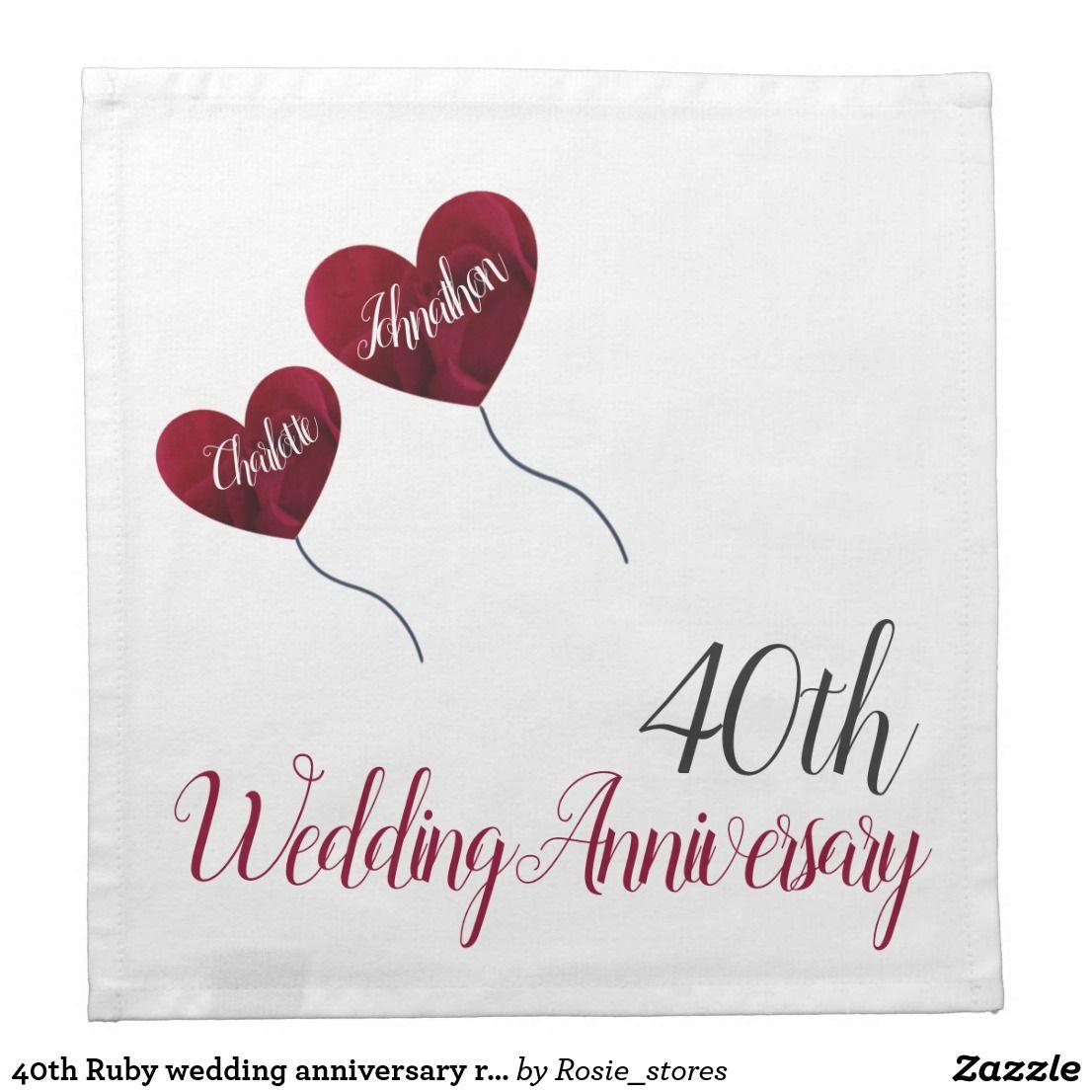 40th Ruby Wedding Anniversary Red Heart Balloons Napkin Zazzle