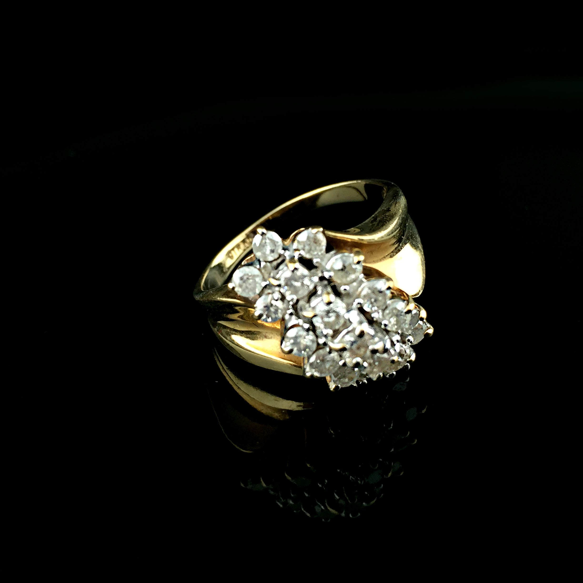 unique engagement signet rings band vintage pin women crown style ring gold wedding floral flower for